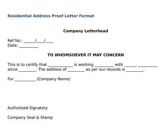 proof of address letter sample format what is address proof format wisdom india 26425 | address proof format updated 2