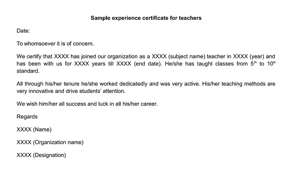 how to write experience certificate for teacher
