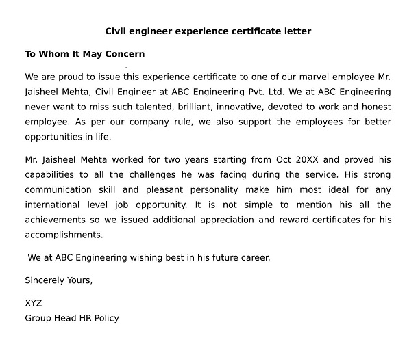 What is the experience certificate format for civil engineer civil engineer experience certificate letter yelopaper Gallery