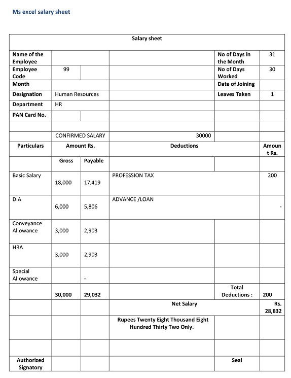 Ms excel salary sheet