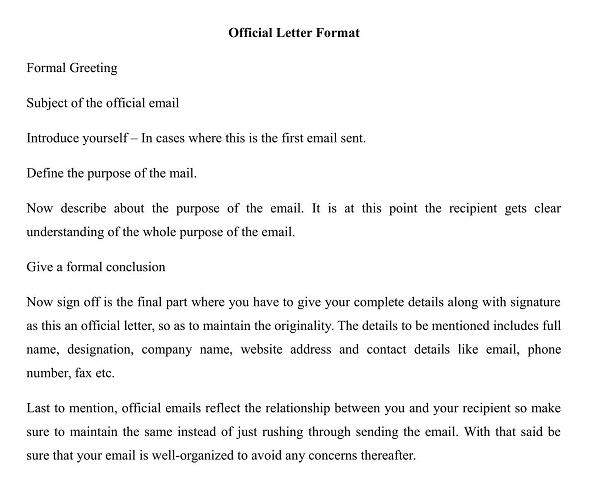 Format of official mail