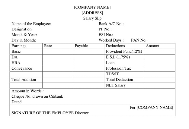 format of Pay slip