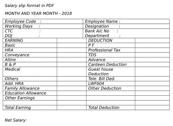 Salary Slip Format In PDF