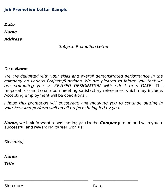 Job Promotion Letter Sample