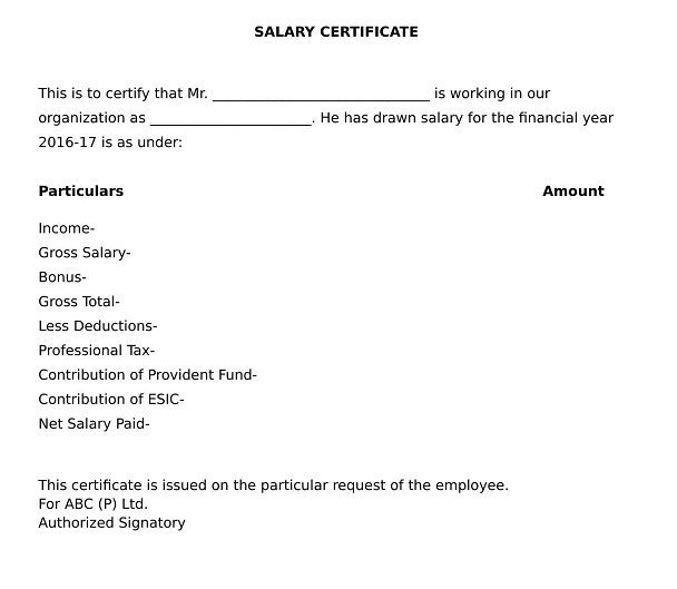 The format of salary certificate