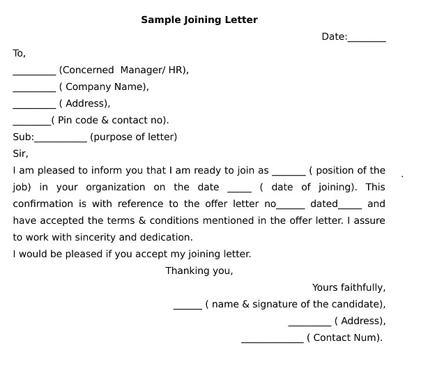 Joining letter format