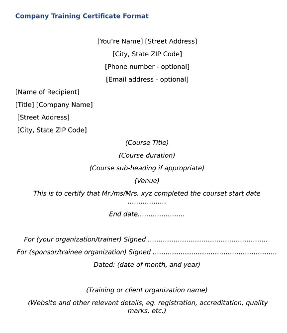 Company Training Certificate Format