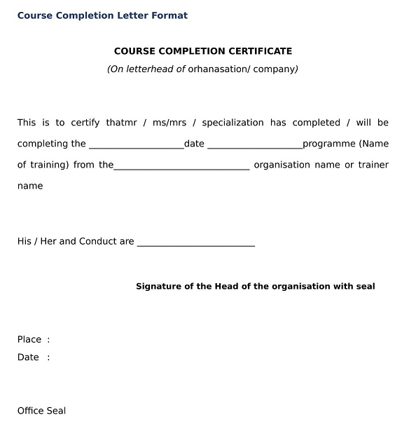 Course Completion Letter Format
