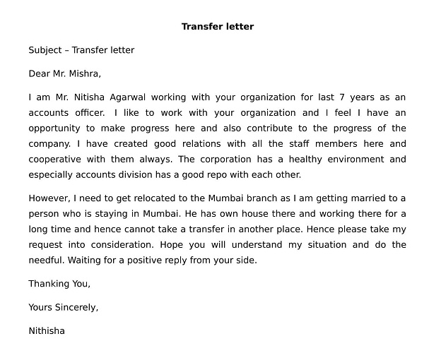 Transfer letter format from one location to another