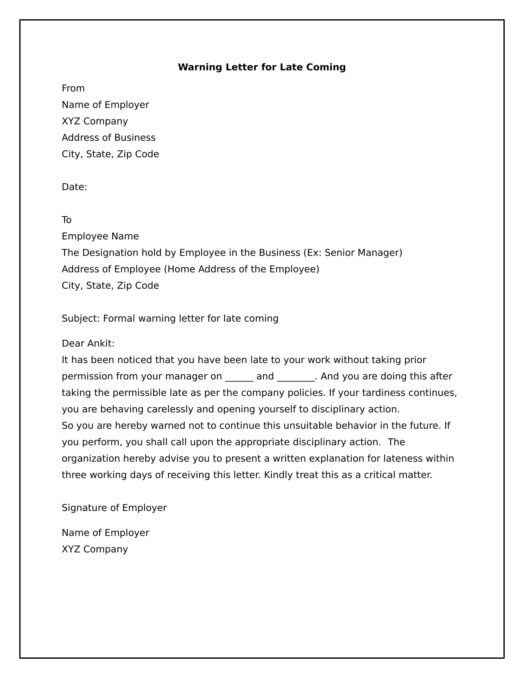 Sample warning letter to employee for tardiness