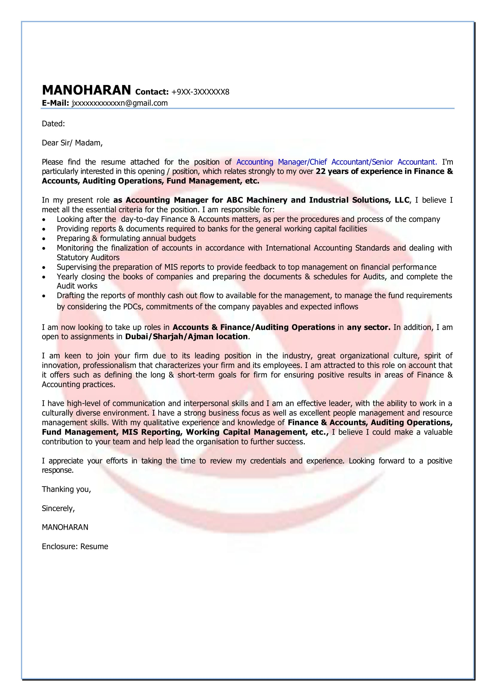 Accounting Sample Cover Letter Format, Download Cover Letter ...