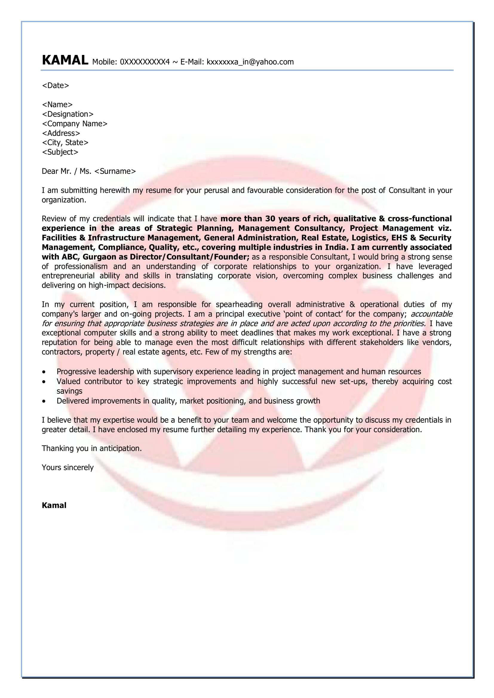 Consulting Sample Cover Letter Format, Download Cover Letter Format ...