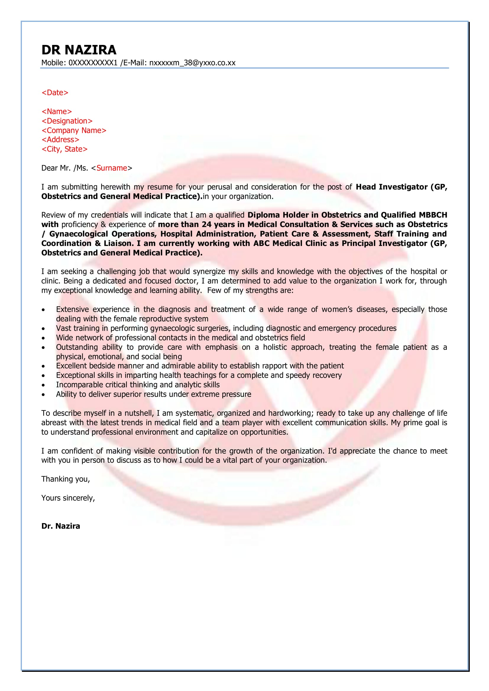 Doctors Sample Cover Letter Format Download Cover Letter