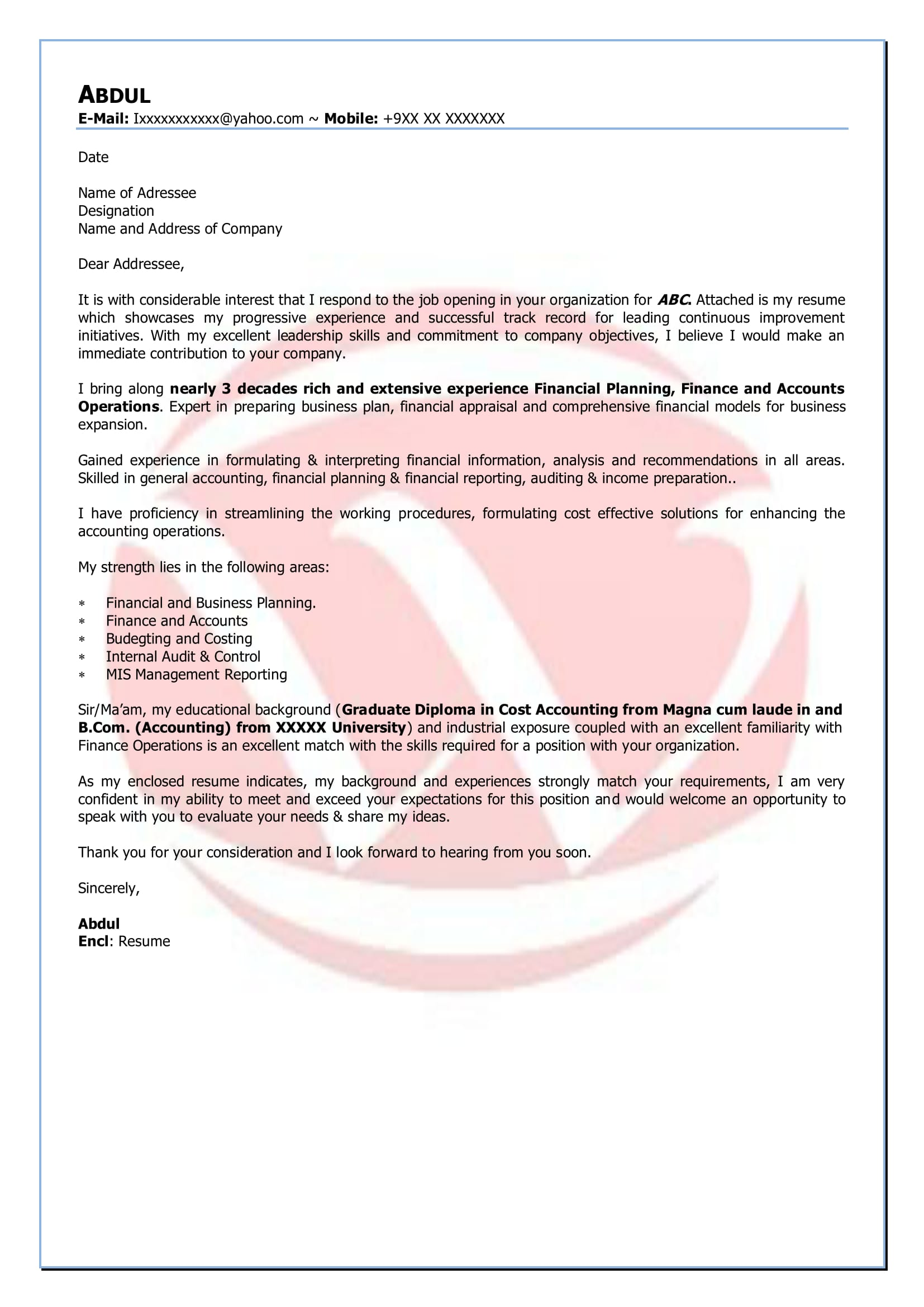 Finance Sample Cover Letter Format Download