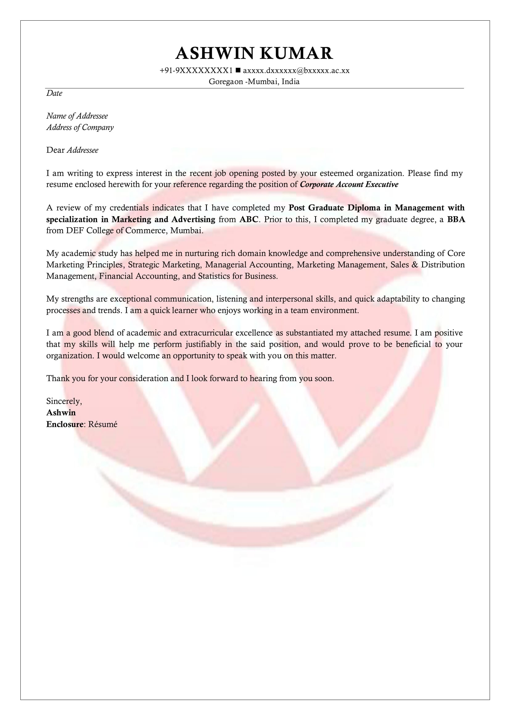 Freshers Sample Cover Letter Format Download Cover Letter Format - Format-for-cover-letter