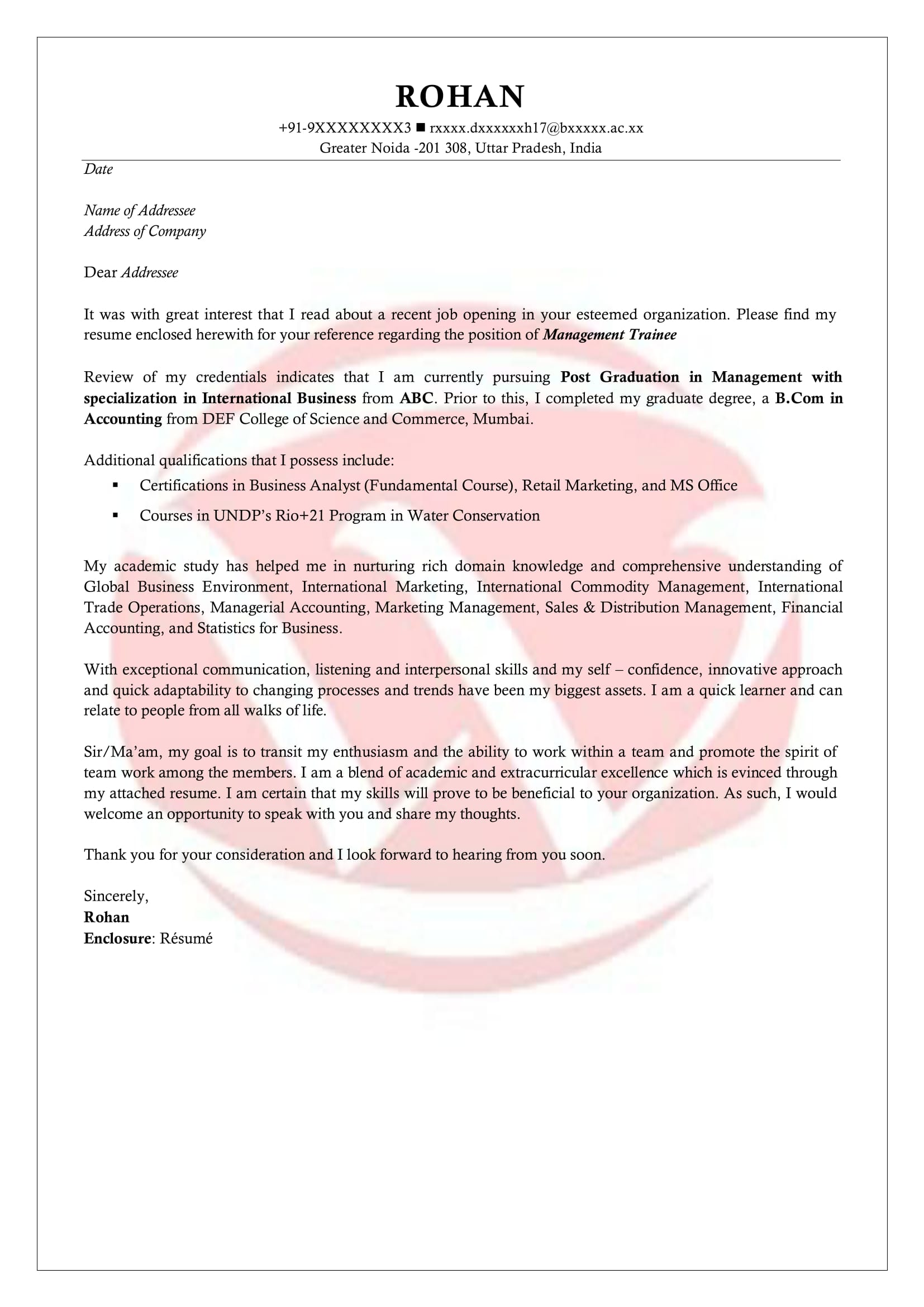 Internship Sample Cover Letter Format, Download Cover Letter ...