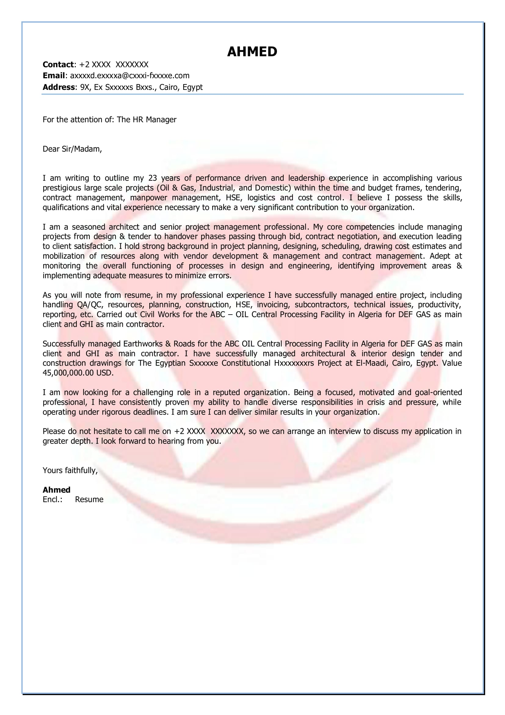Project Manager Sample Cover Letter Format Download