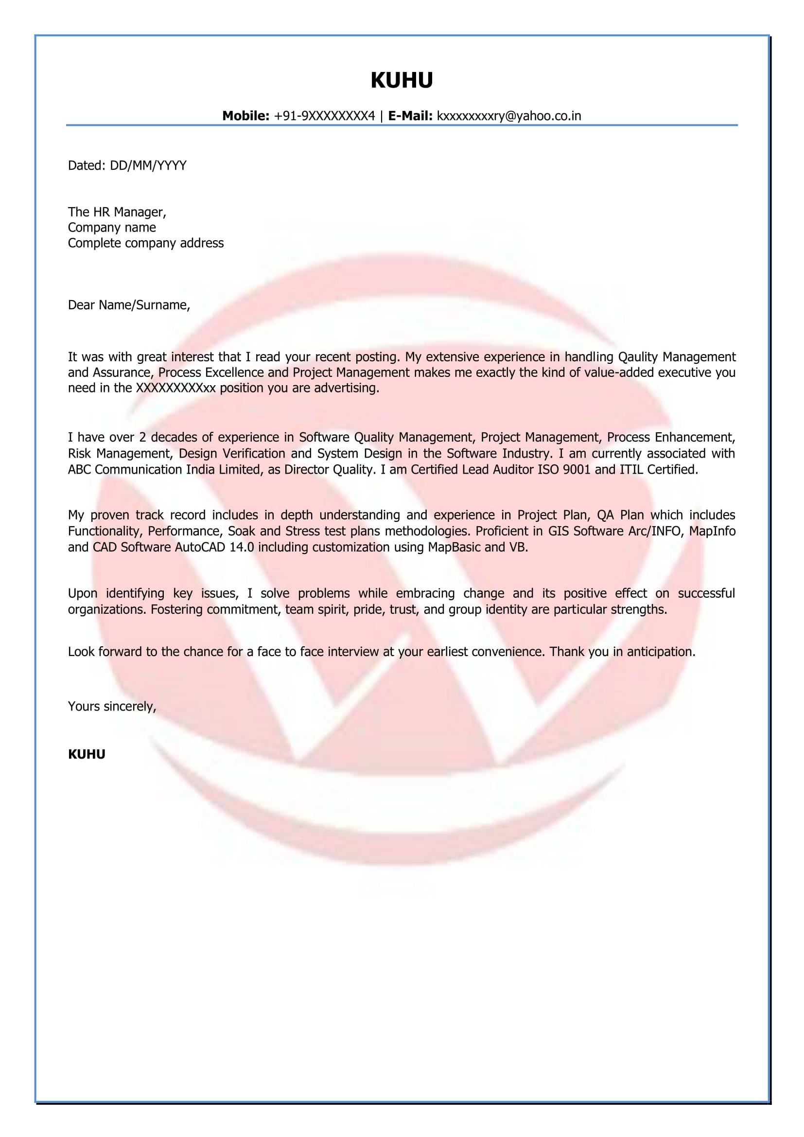 Quality Control Cover Letter | Quality Control Sample Cover Letter Format Download Cover Letter
