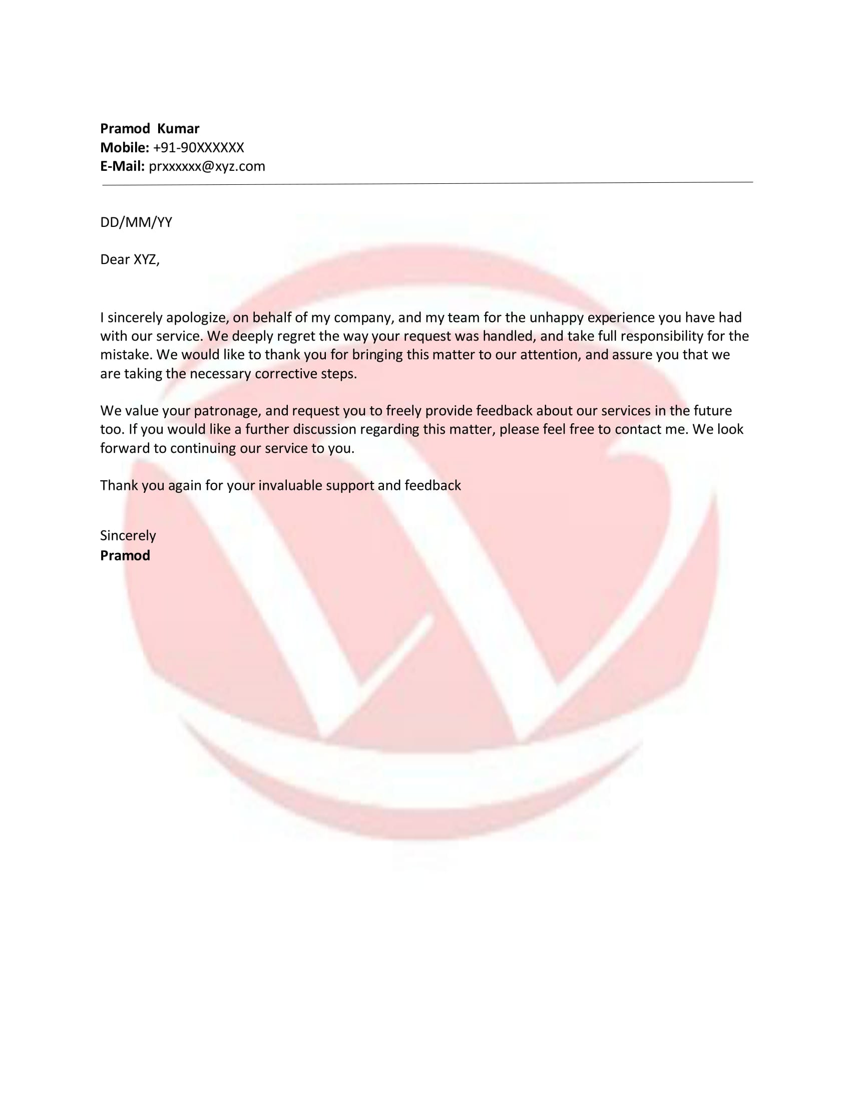 Apology Sample Letter Format Download Letter Format Templates