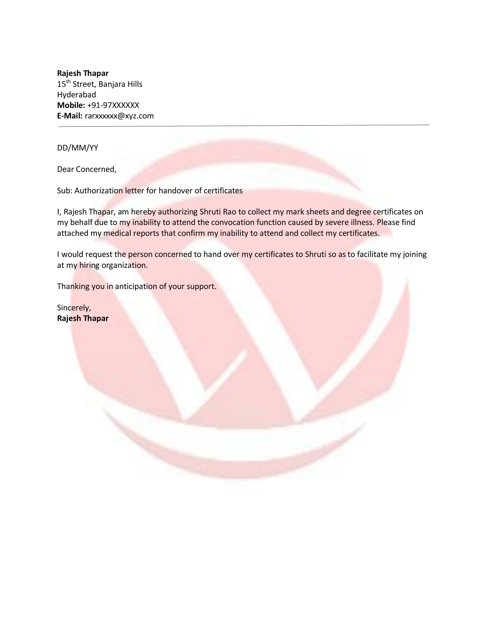 Authorization Sample Letter Format Download Letter Format Templates