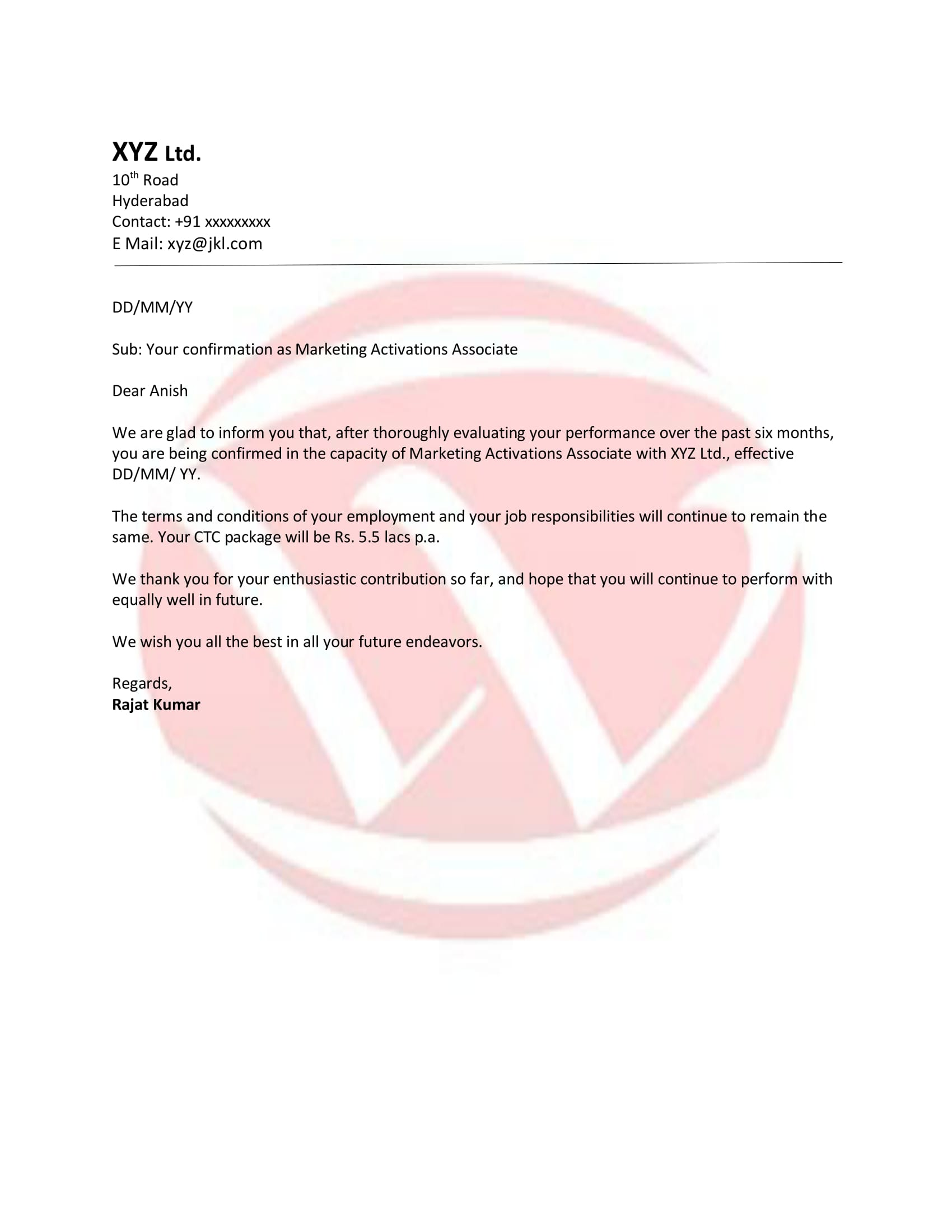 Confirmation Sample Letter  Marketing Letter Format