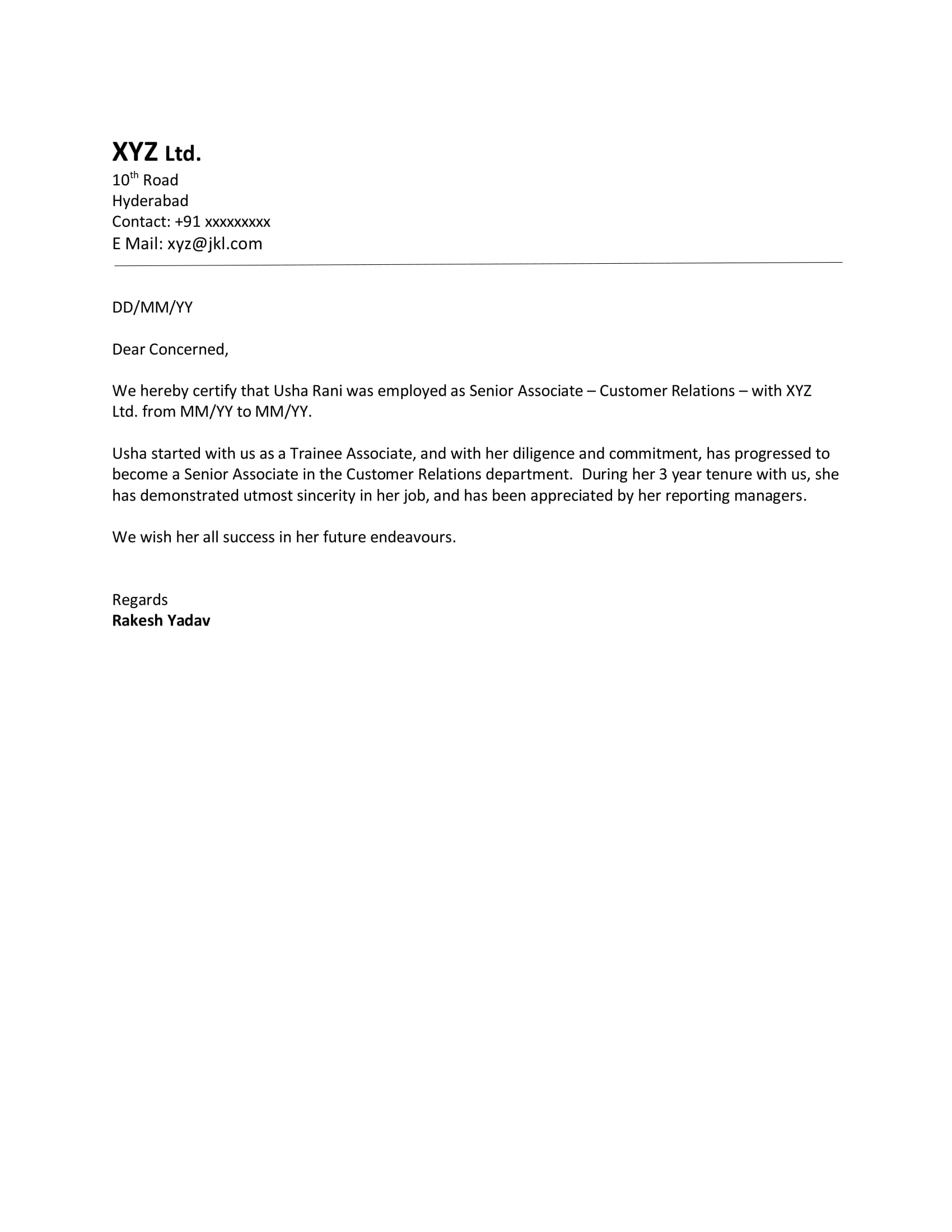 experience sample letter format  download letter format