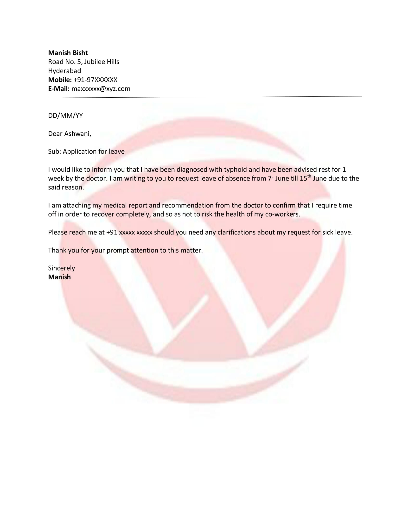 Leave Sample Letter Format Download Letter Format Templates