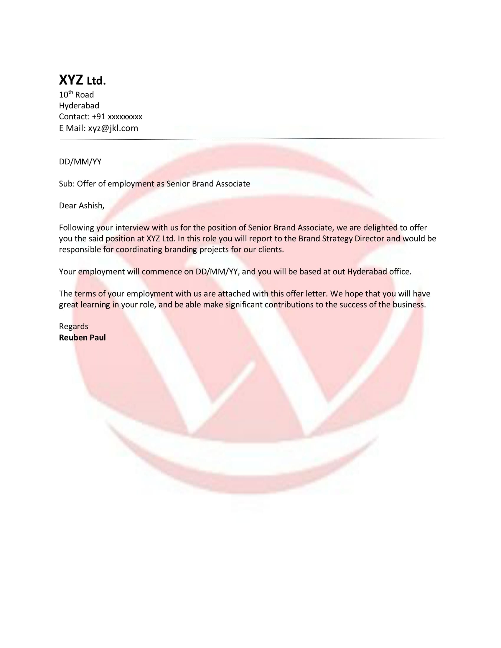 Project Confirmation Letter Format From Company. Offer Sample Letter Format  Download Templates
