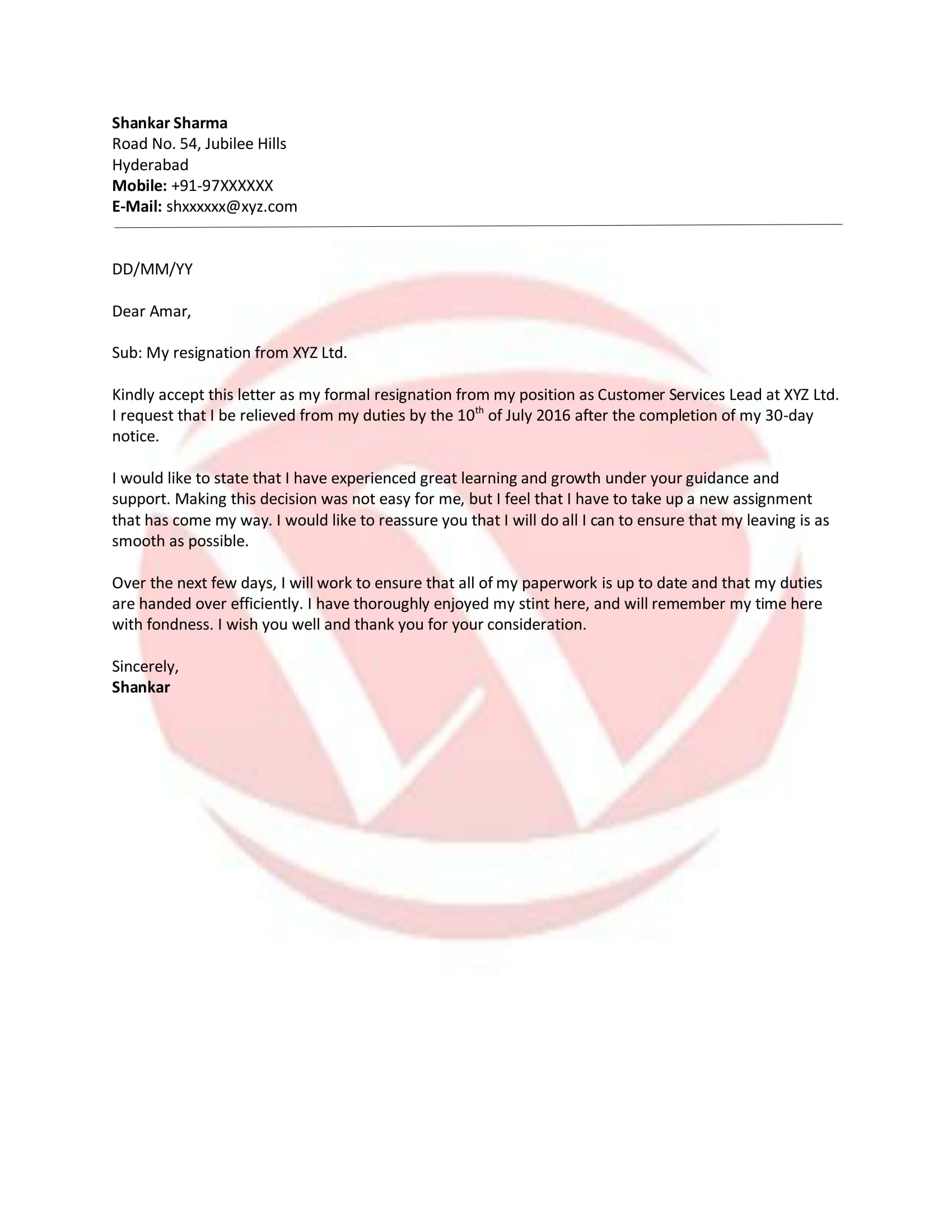 Resignation Sample Letter Format, Download Letter Format Templates