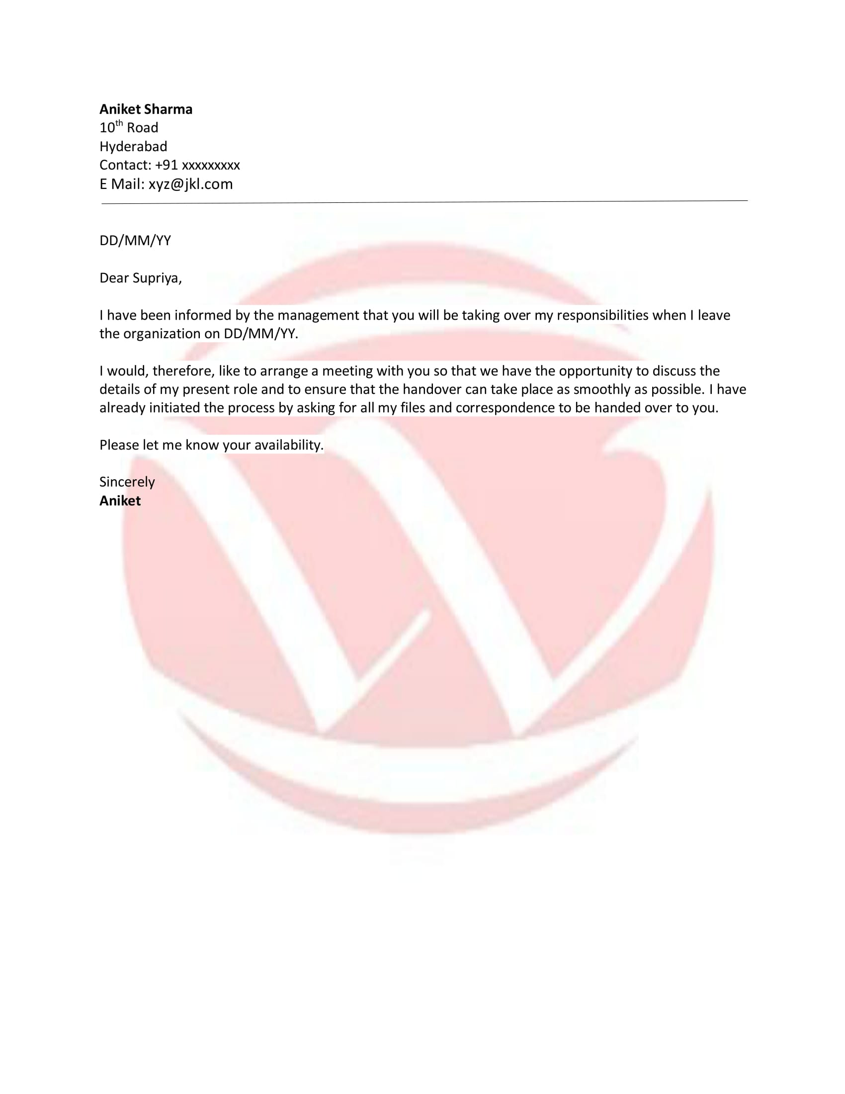 Responsibilities handover sample letter format download letter responsibilities handover sample letter spiritdancerdesigns Gallery