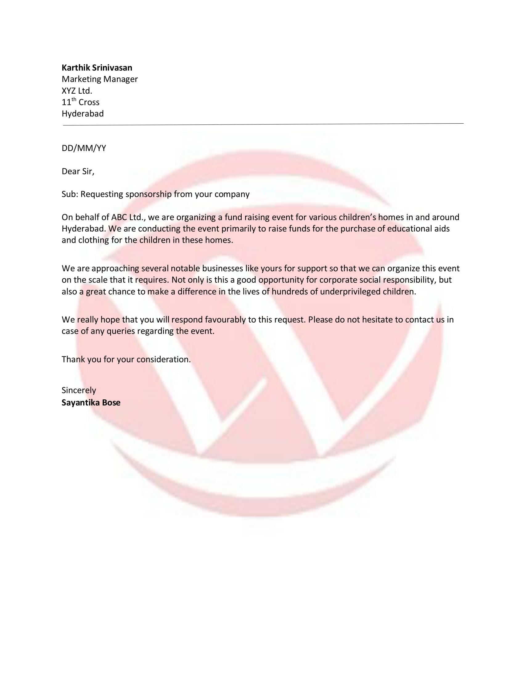 Sponsorship Sample Letter