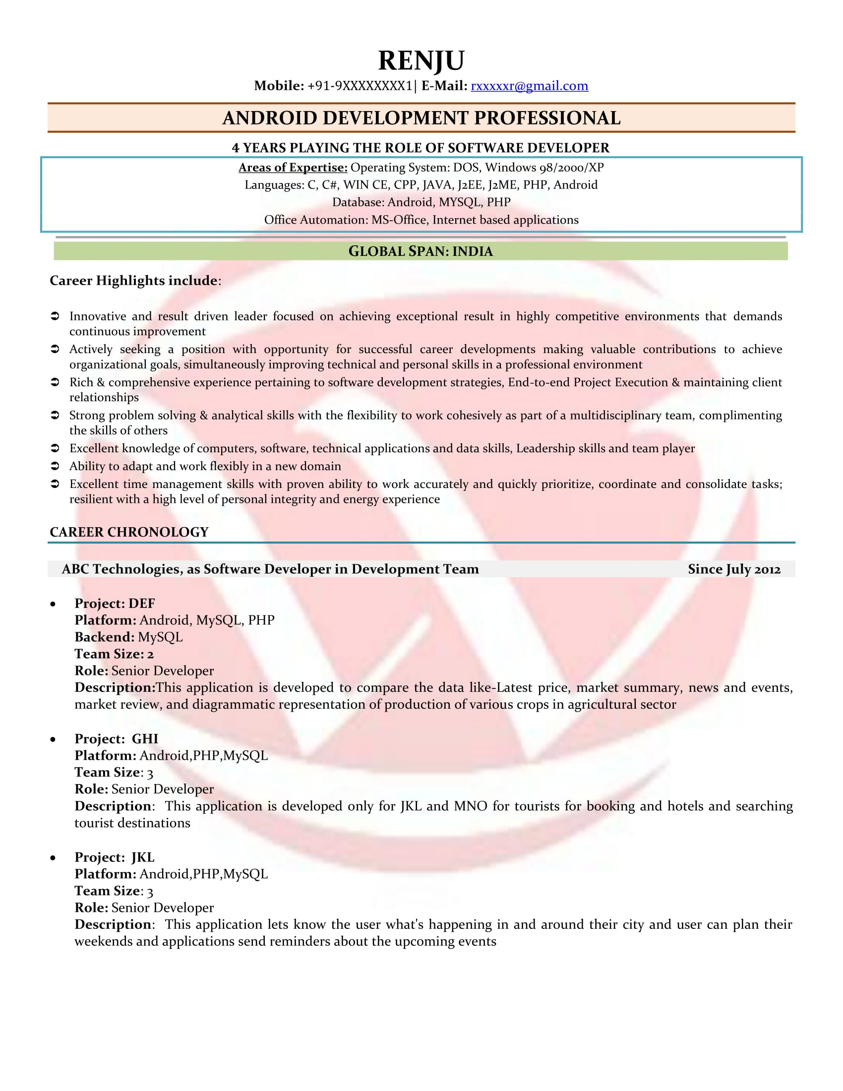 android developer sample resumes download resume format templates