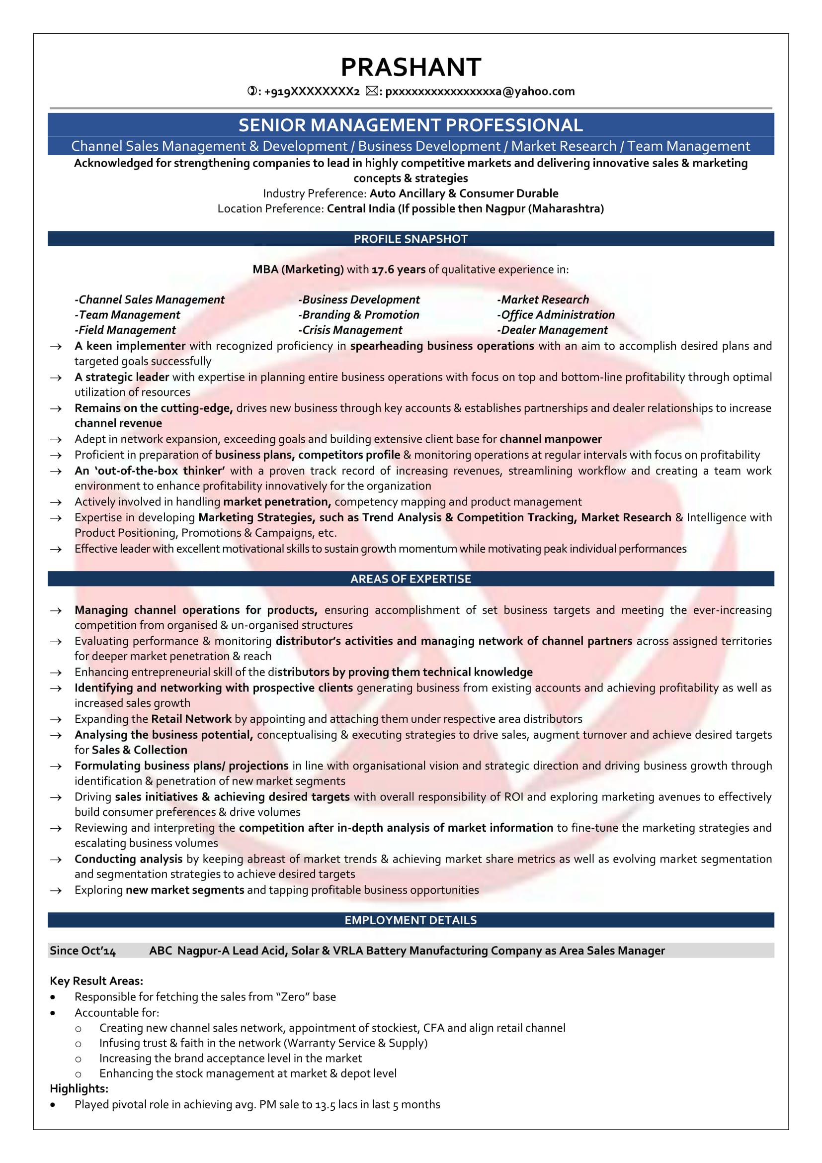 area sales manager sample resume