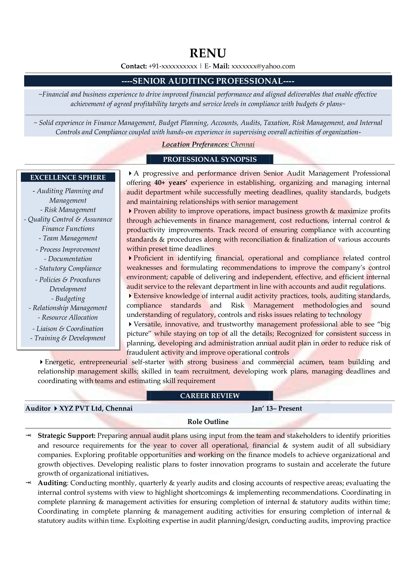 Auditor Sample Resumes Download Resume Format Templates
