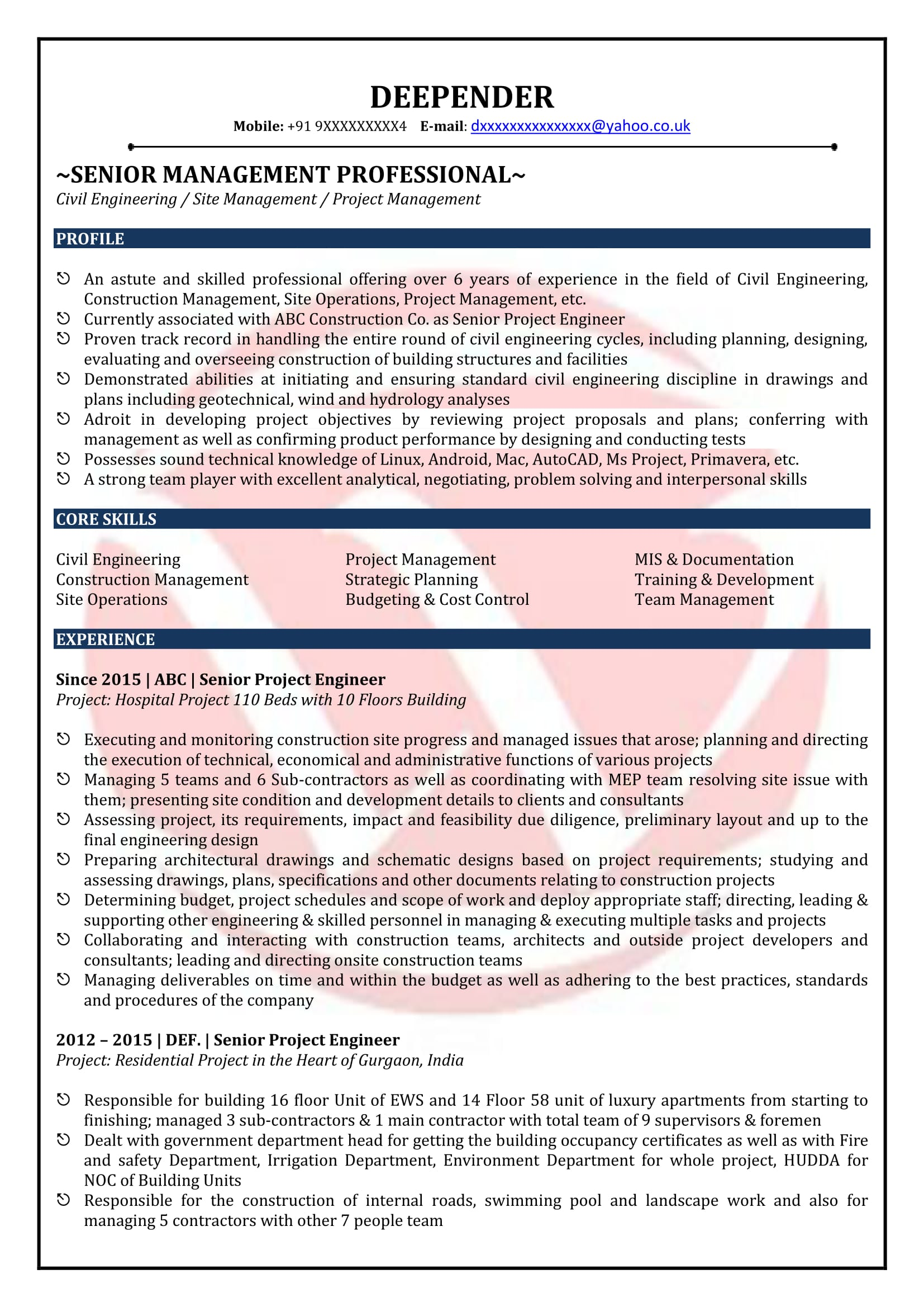 Resume Format For Freshers Civil Engineers World Of