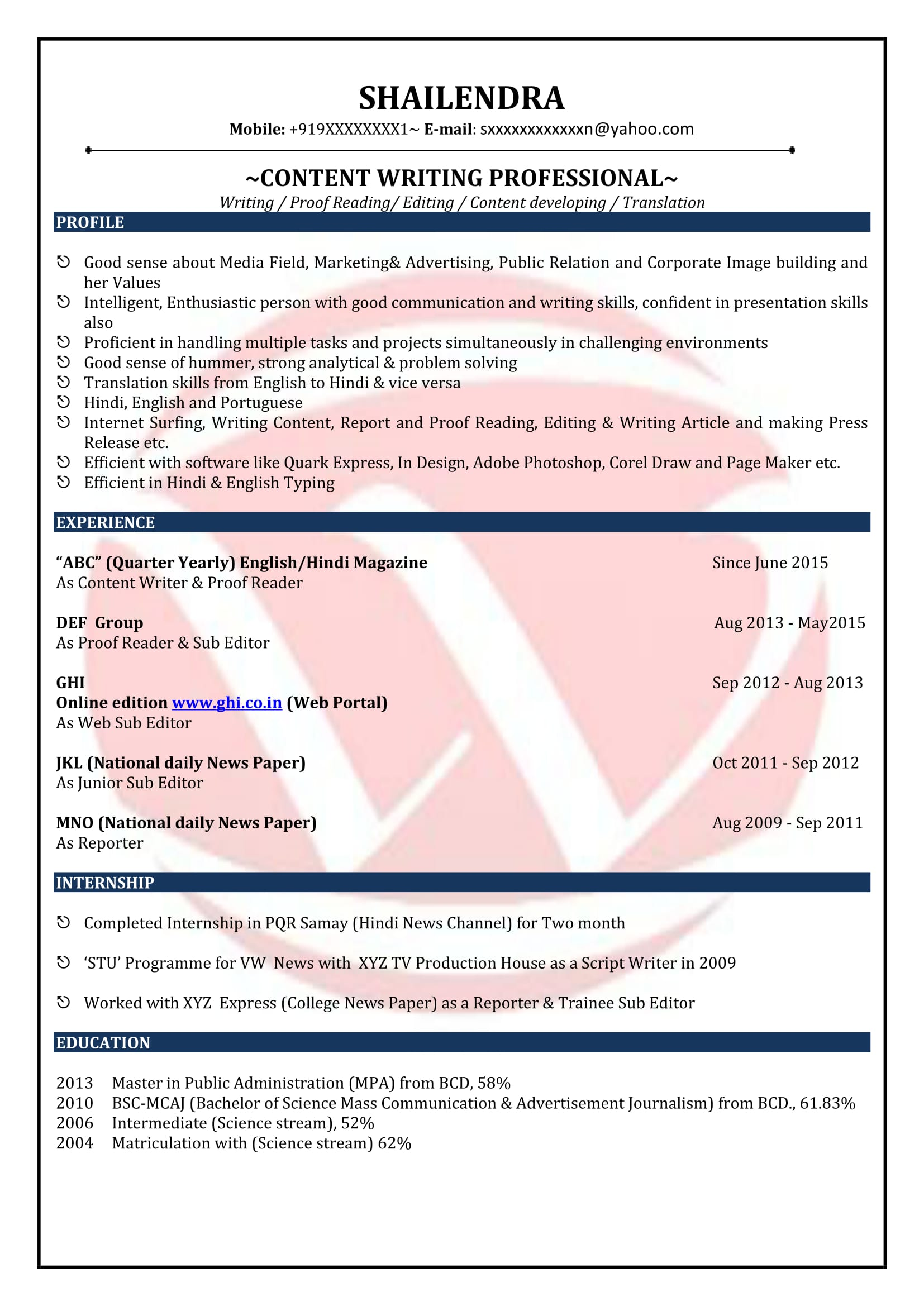 Content Writer Sample Resumes Download Resume Format Templates