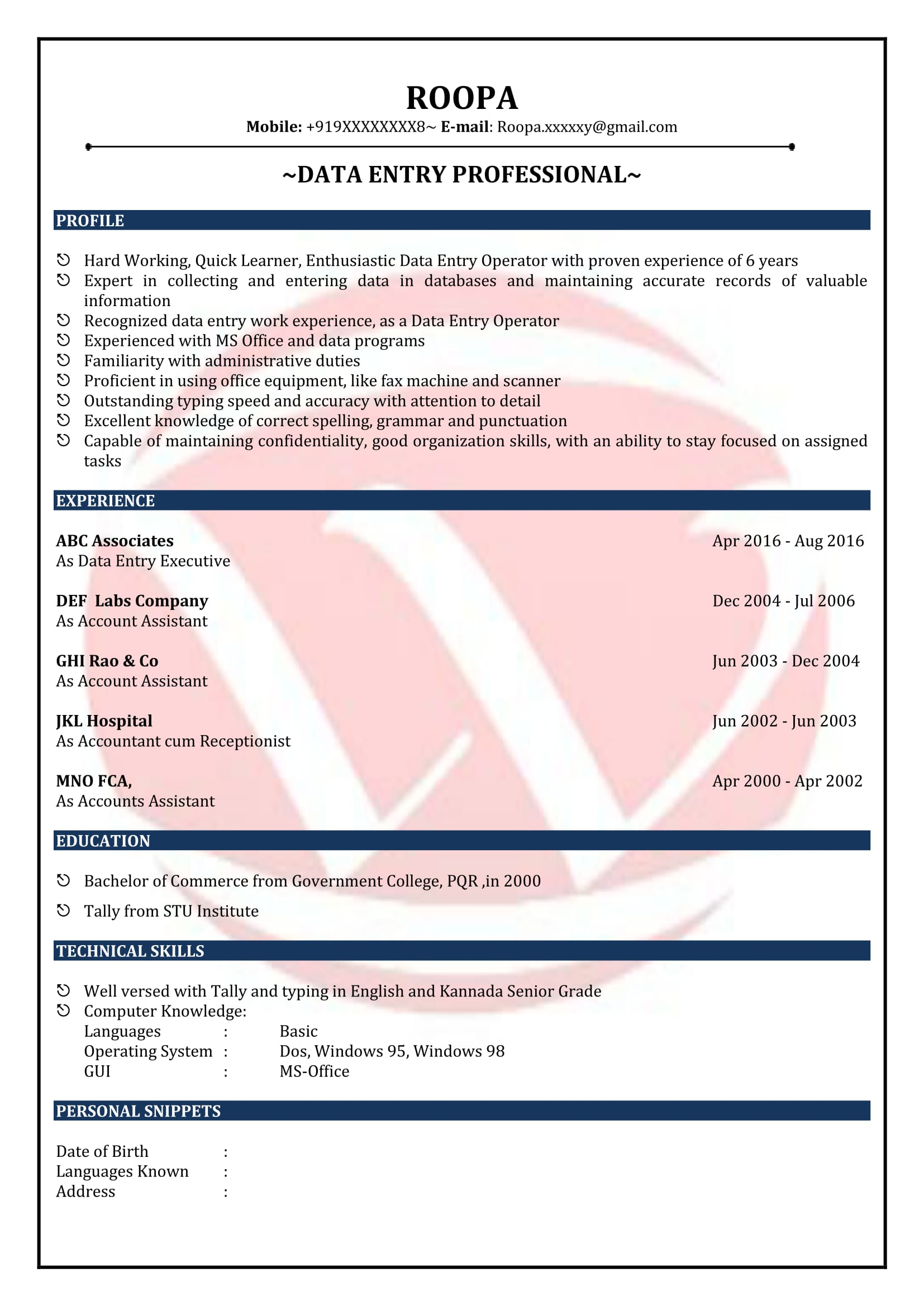 Data Entry Sample Resumes Download Resume Format Templates