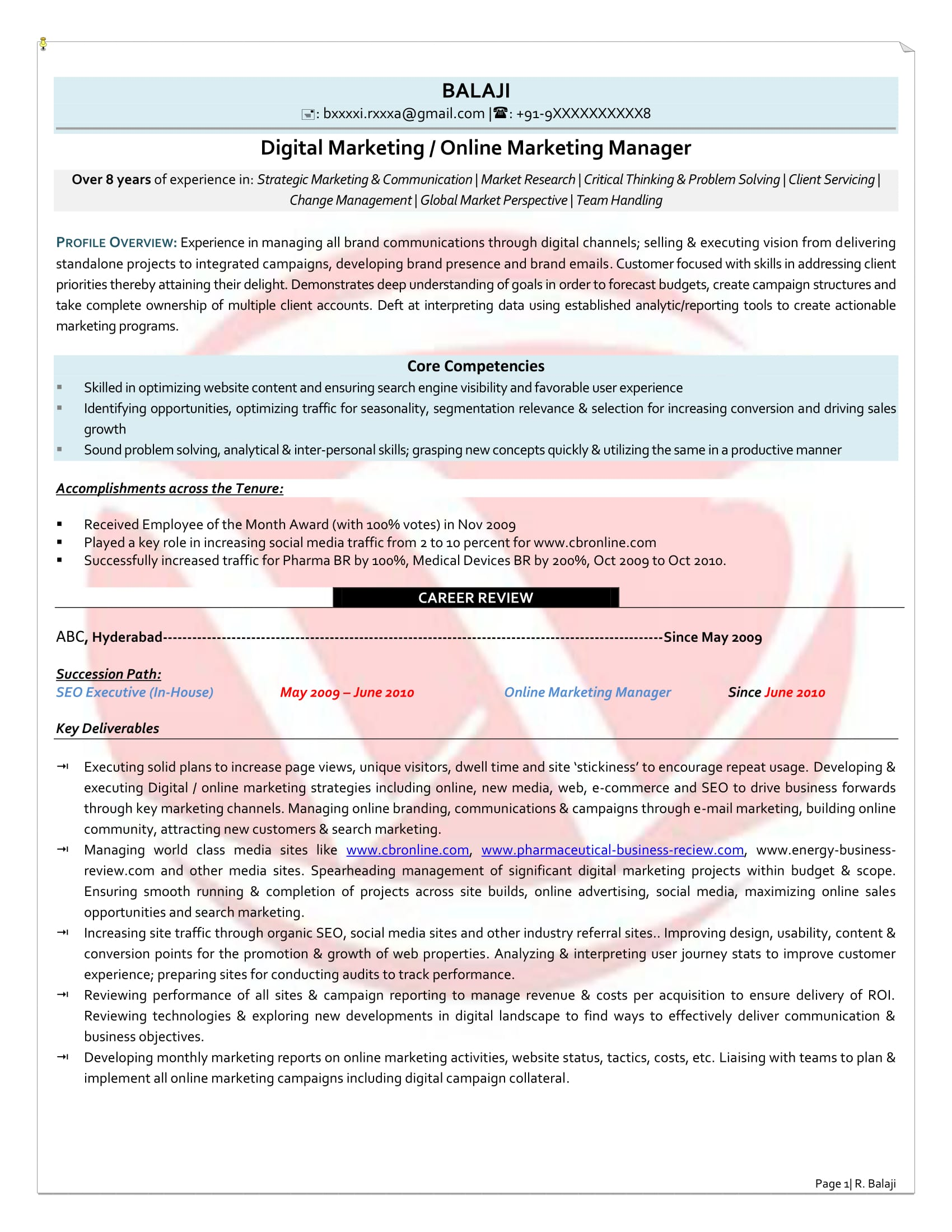 Digital Marketing Sample Resume  Digital Marketing Resume Sample