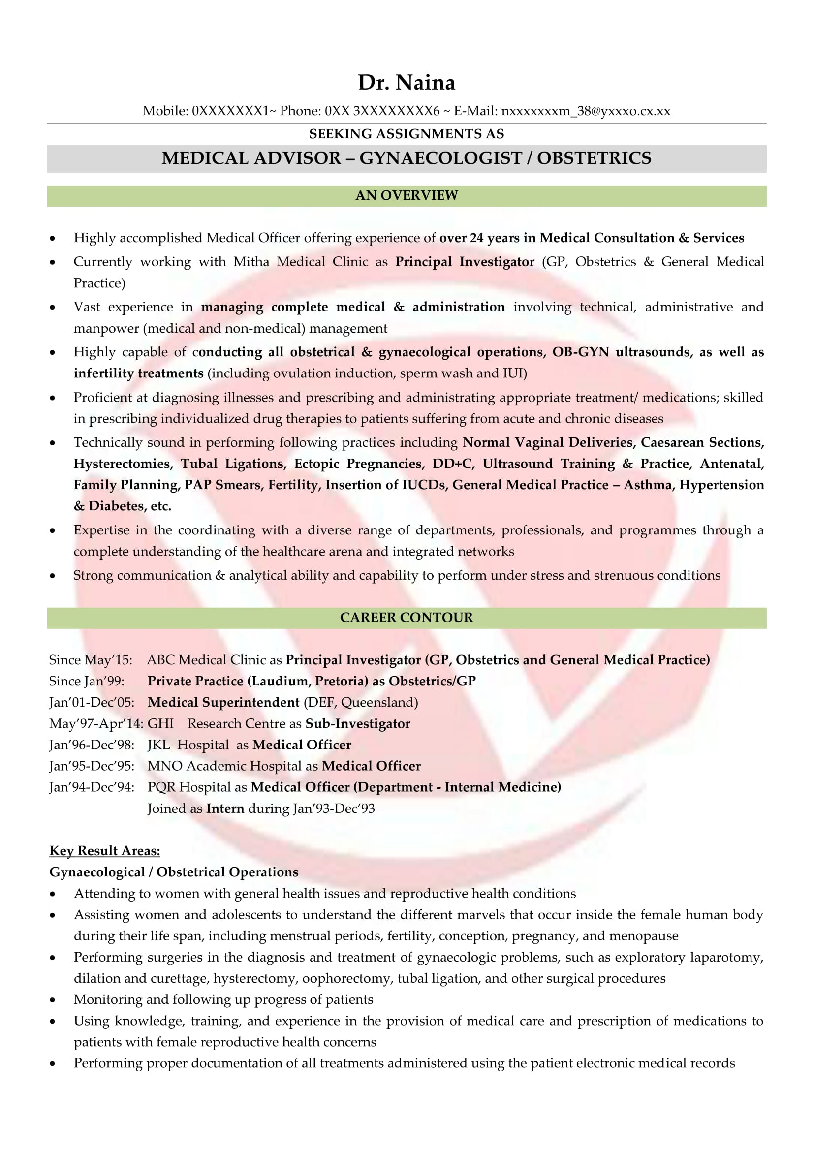 doctor sample resume - Resume Format For Doctors
