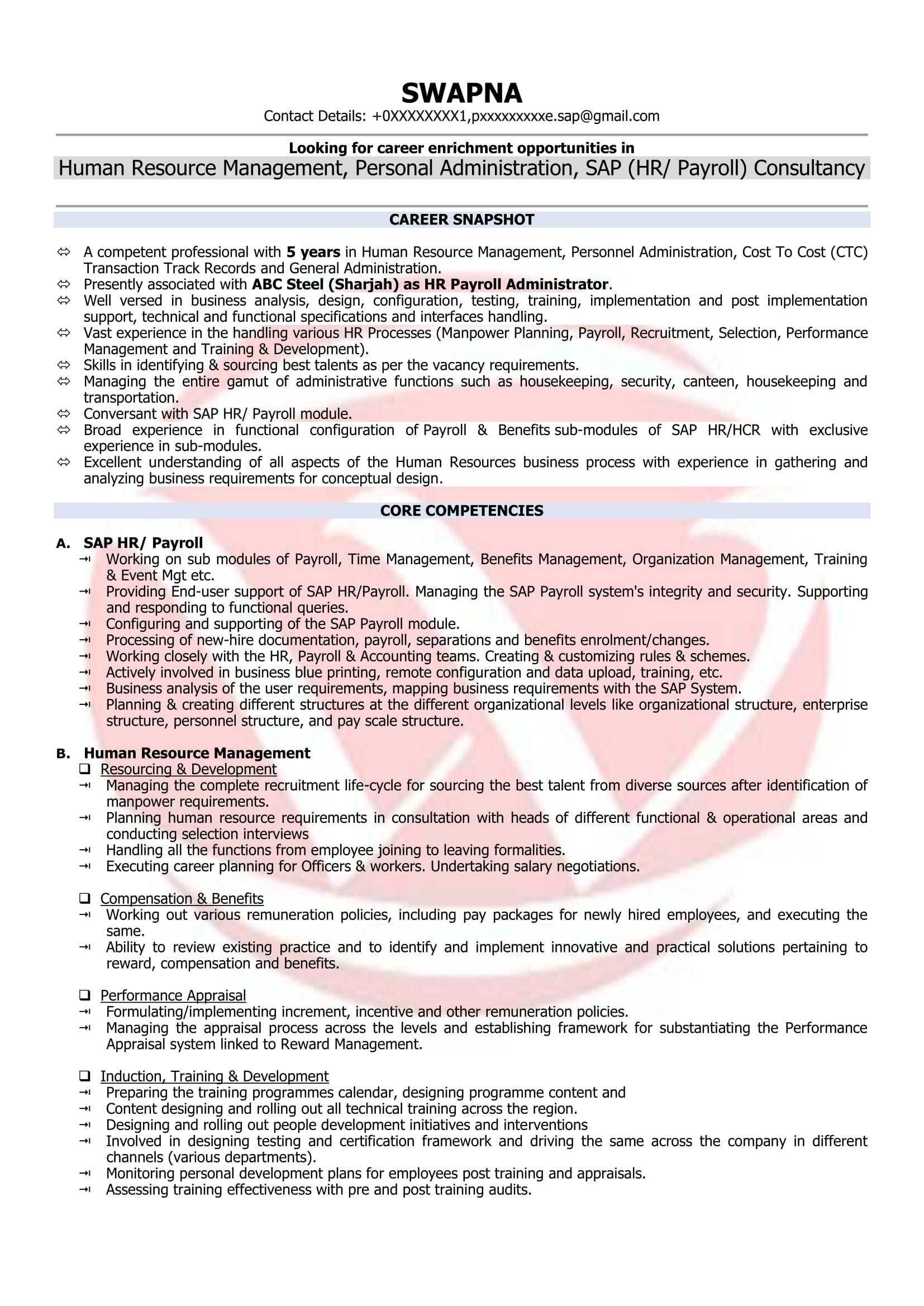 hr executive sample resume - Sap Administration Sample Resume