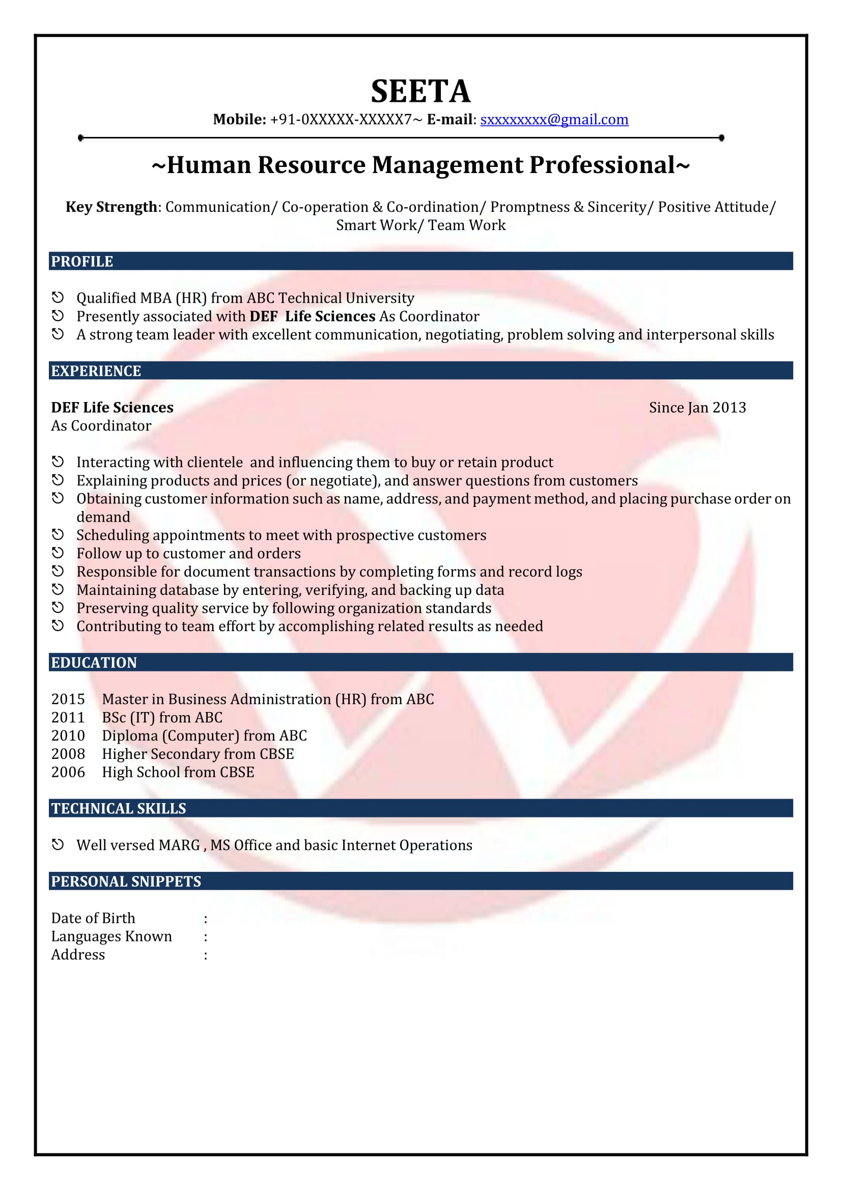 HR Fresher Sample Resume