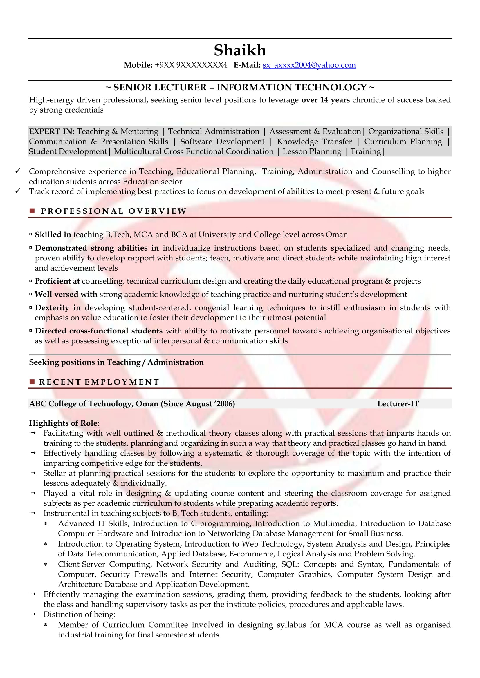 Lecturer Sample Resumes Download Resume Format Templates