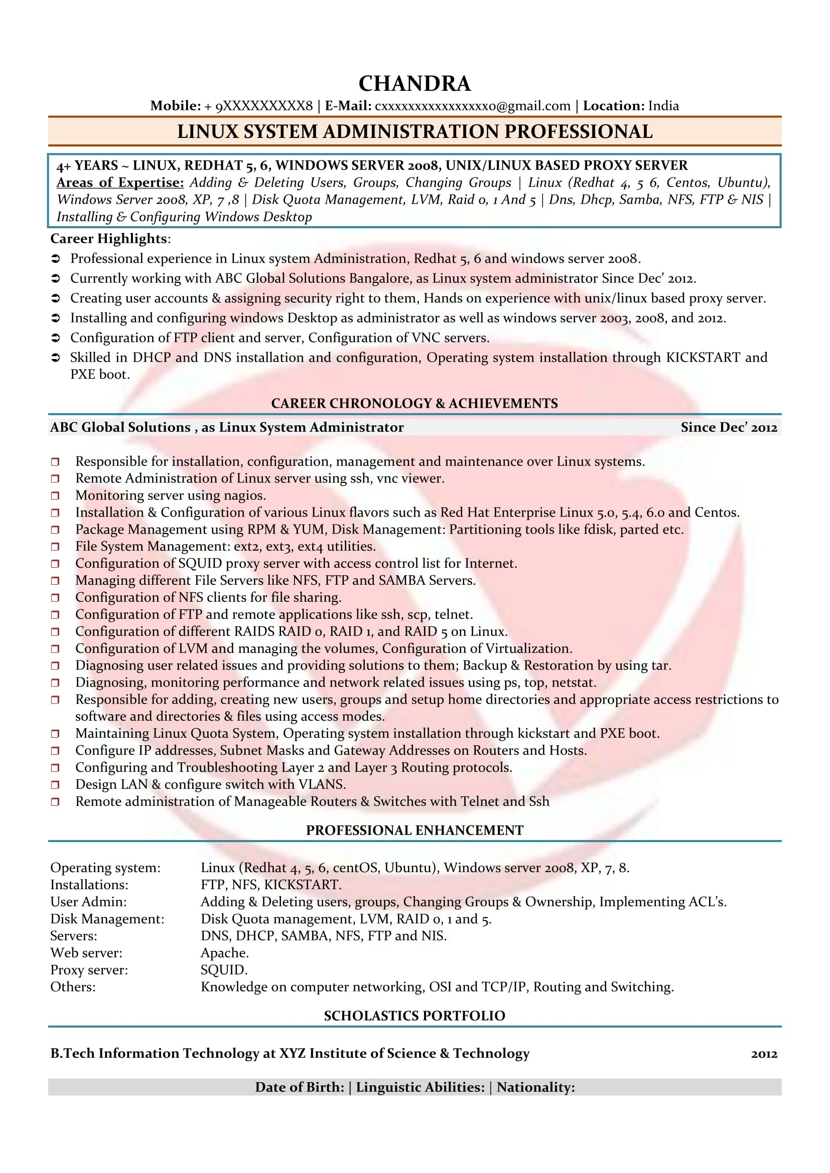 linux admin sample resume - Linux Admin Resume