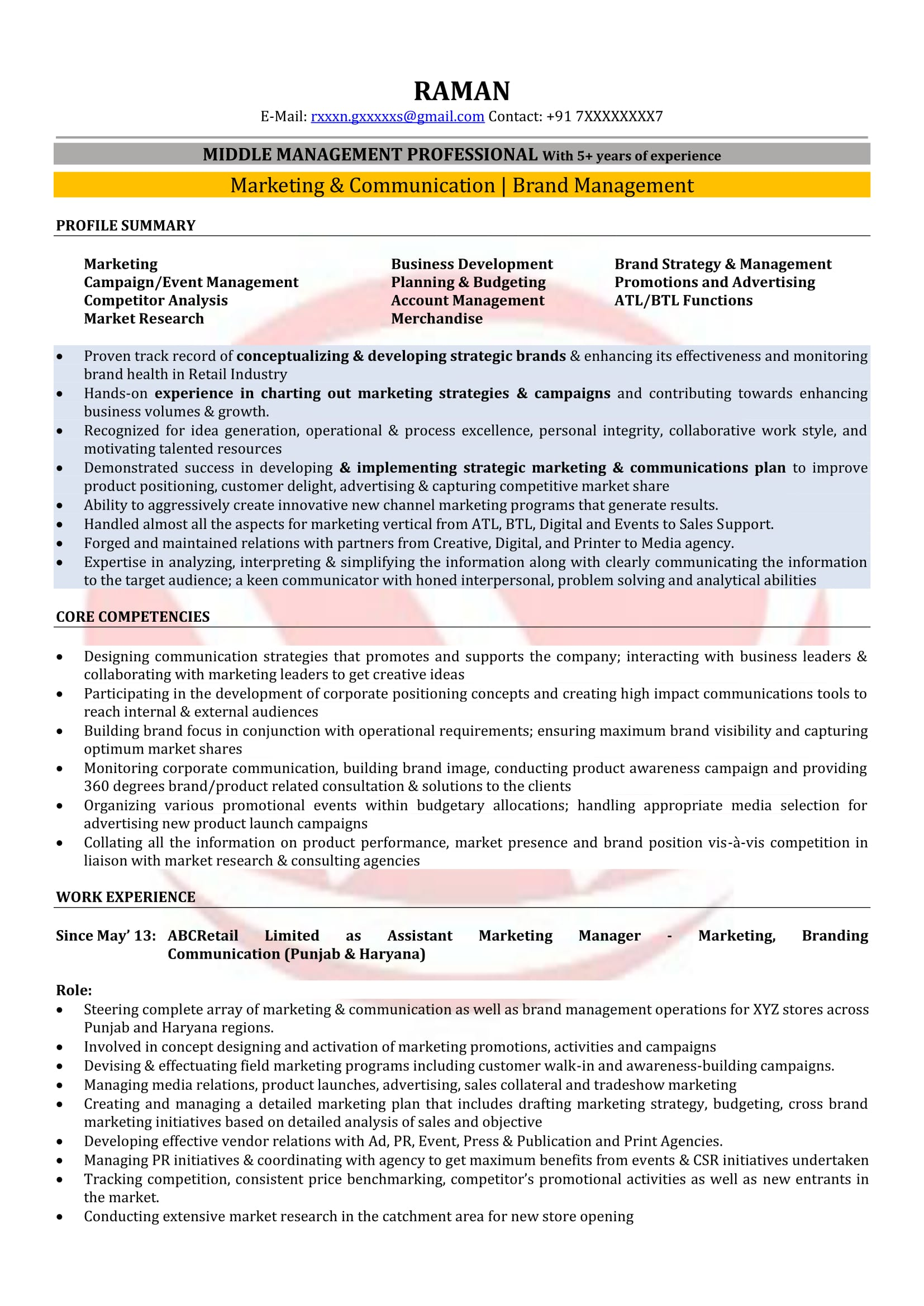 marketing manager sample resumes  download resume format templates