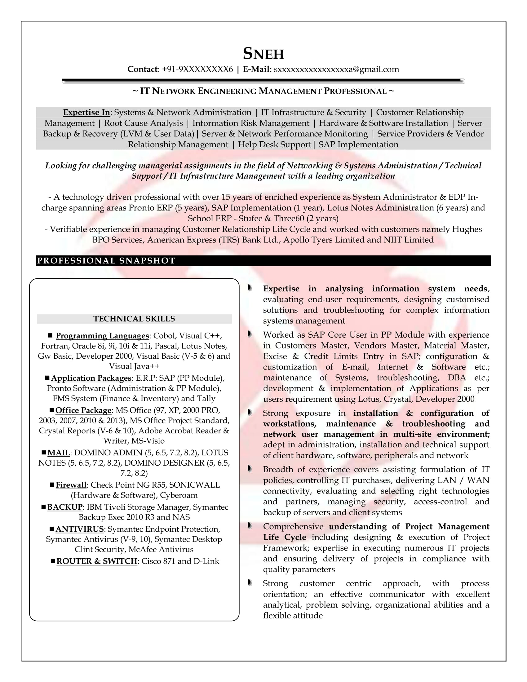 network engineer sample resume - Server Engineer Sample Resume