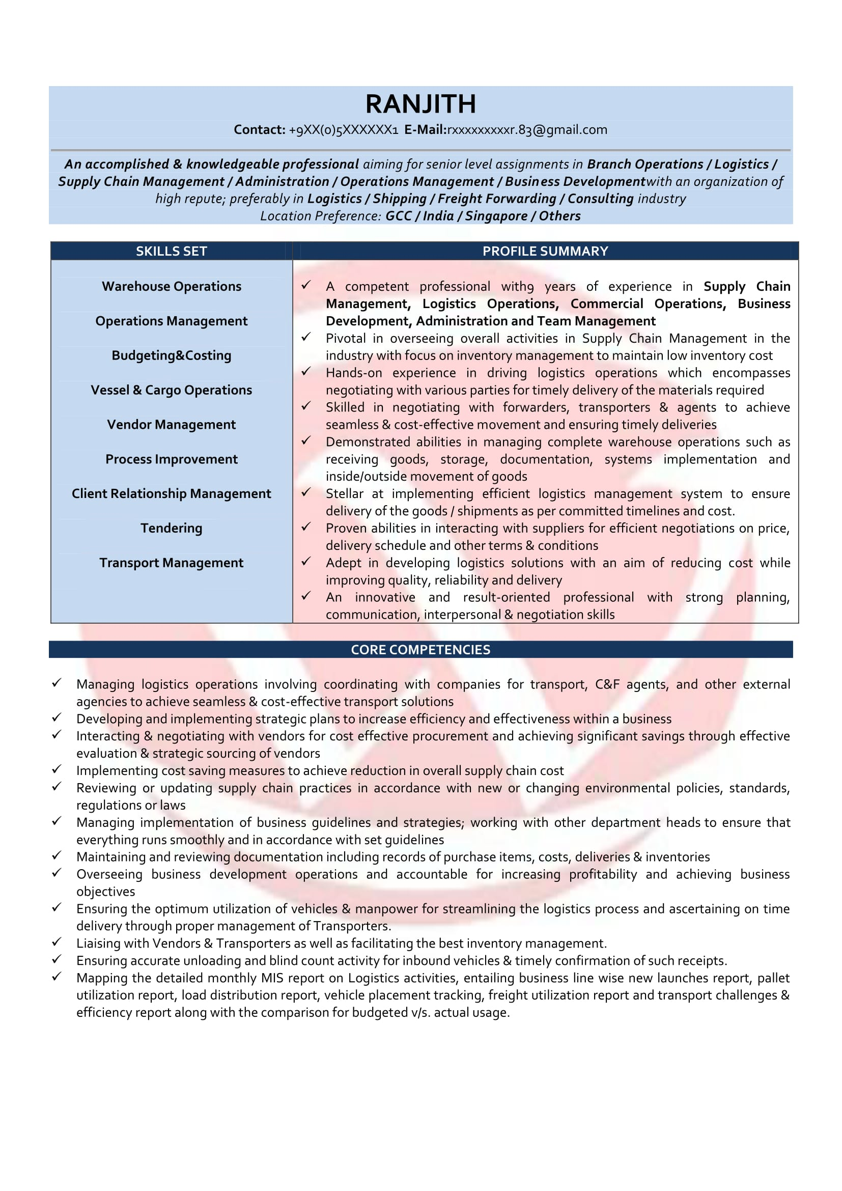 Etonnant Operations Manager Sample Resume