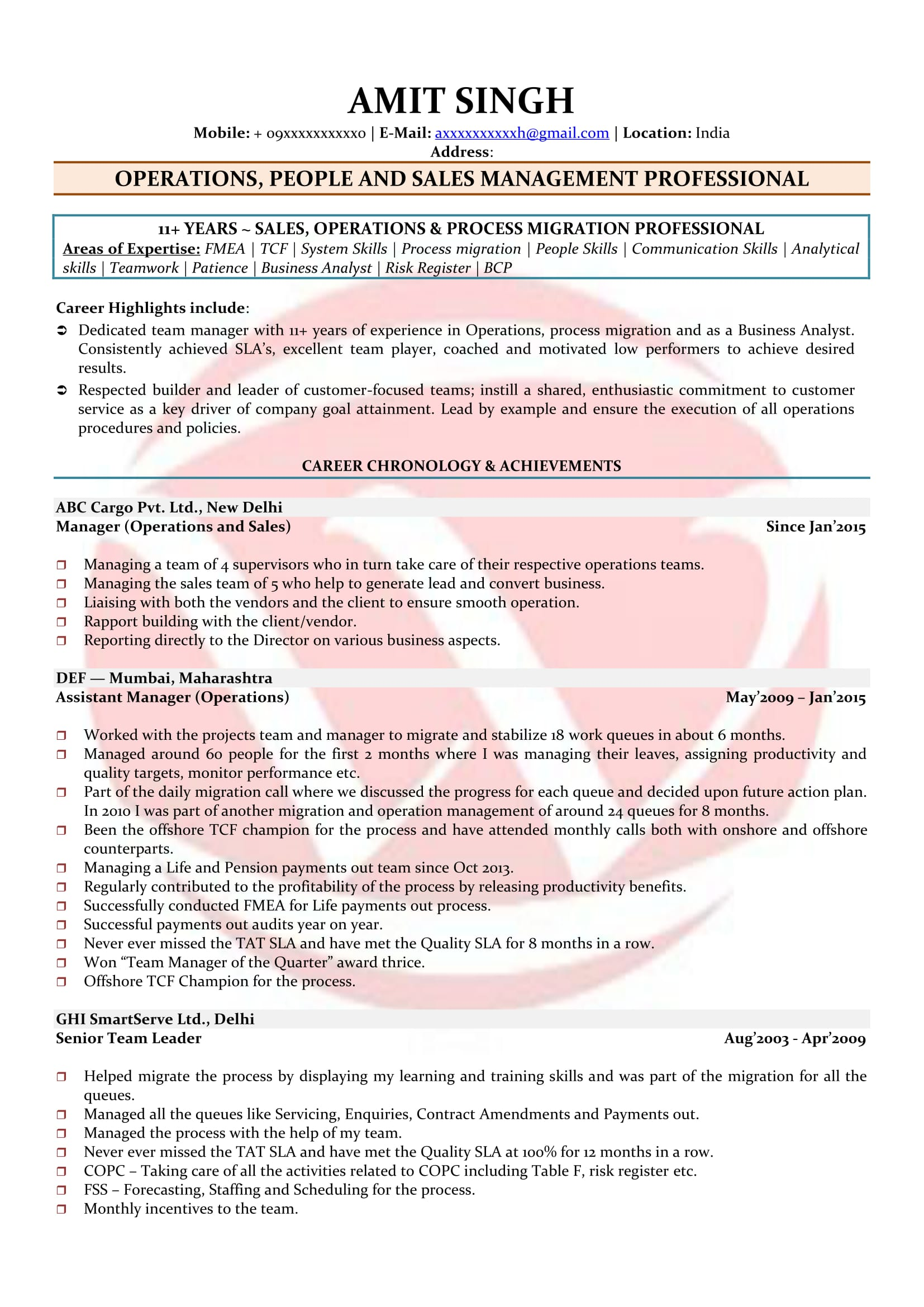 People Management Sample Resumes Download Resume Format