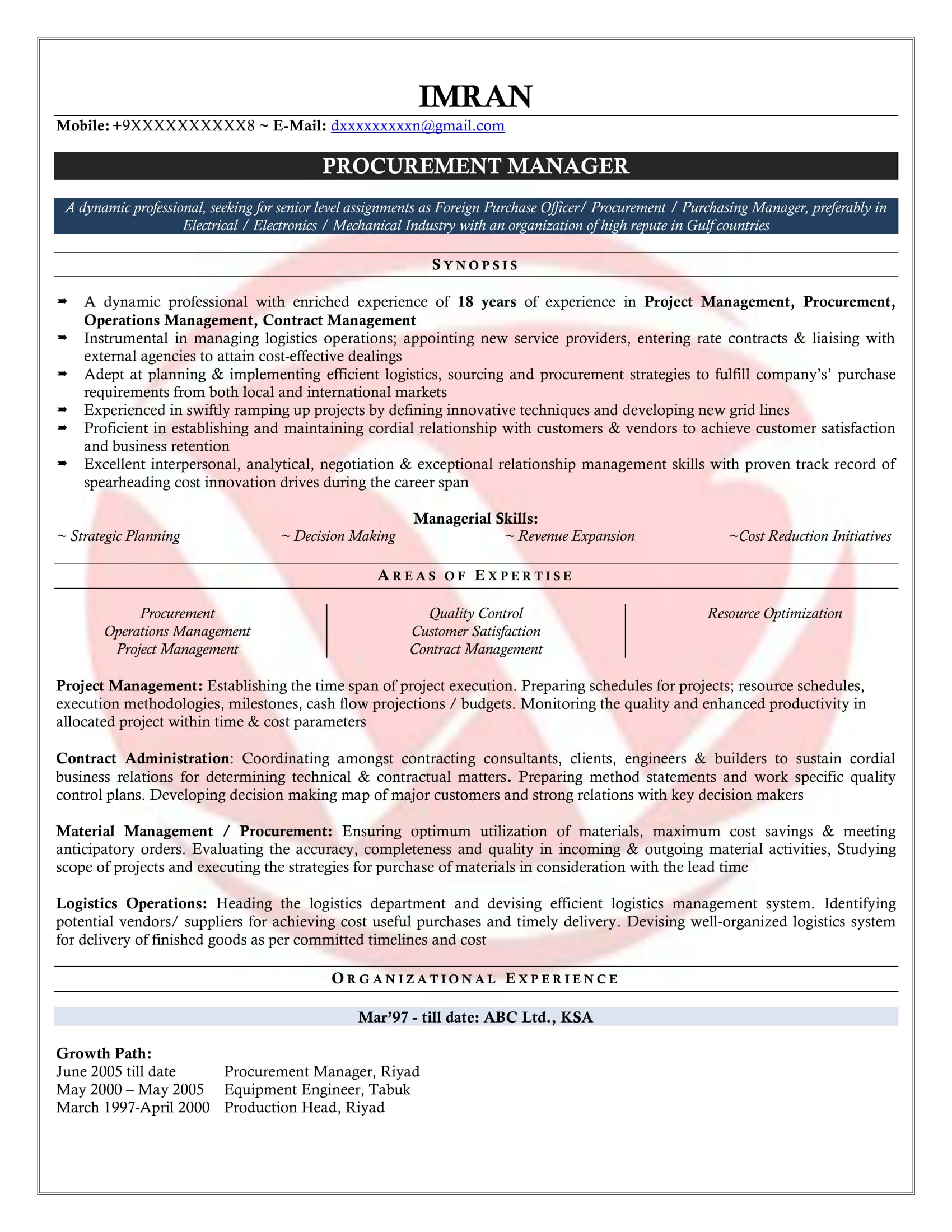 Purchase Manager Sample Resumes Download Resume Format Templates