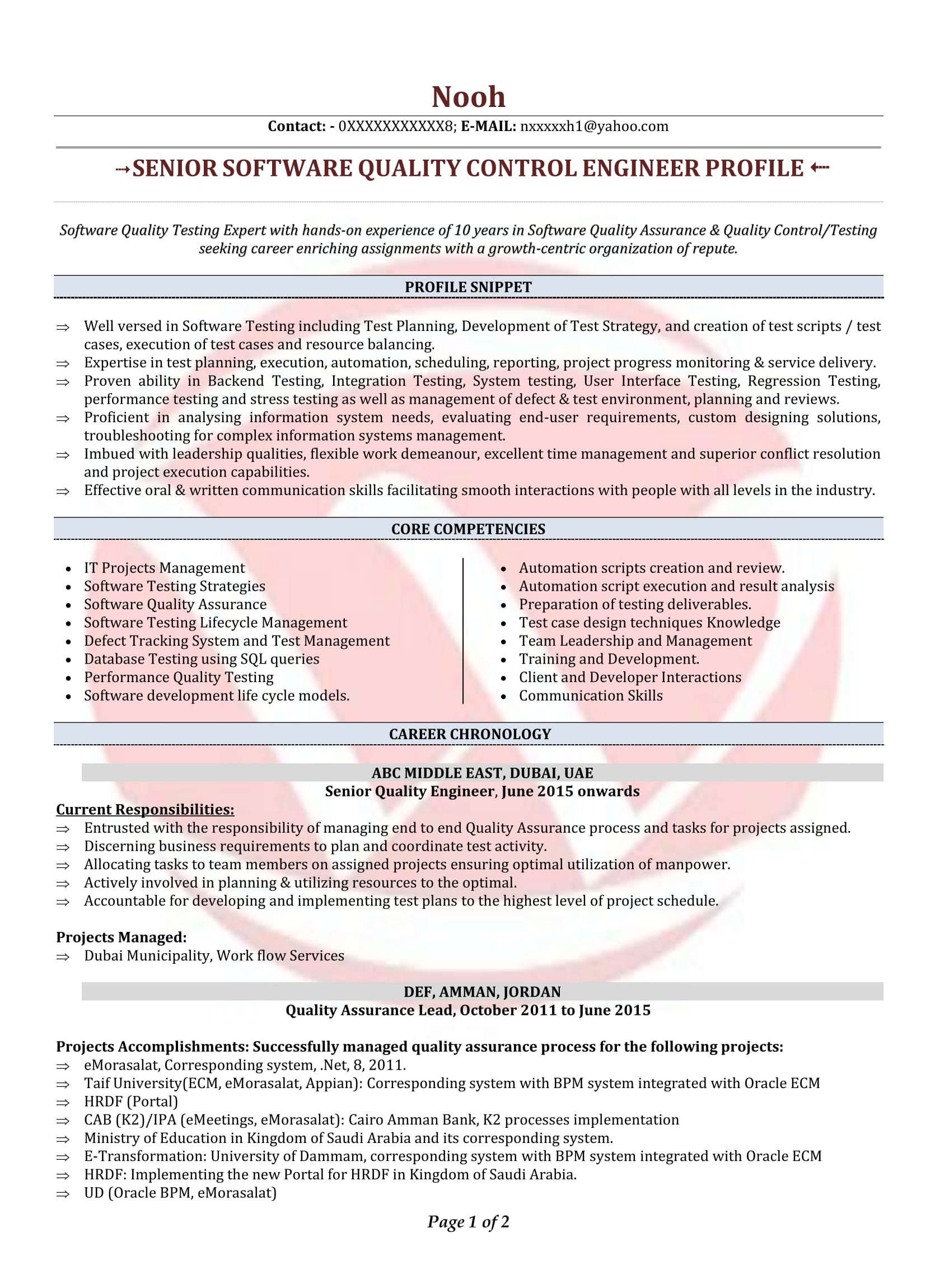 Quality Engineer Sample Resumes, Download Resume Format Templates!