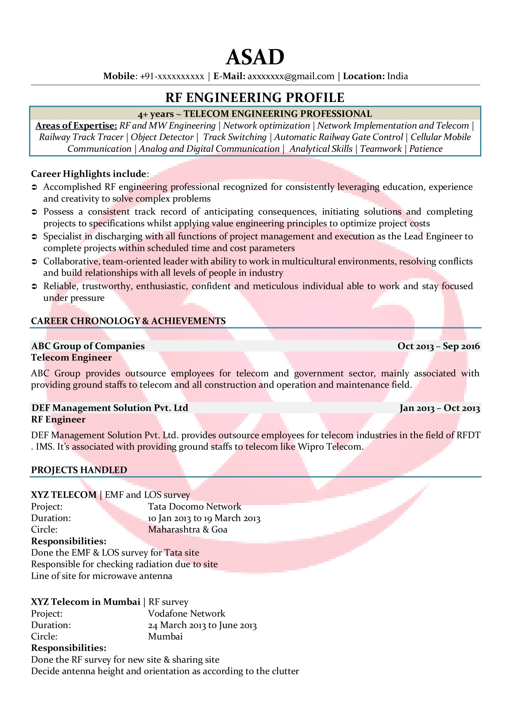 RF Engineer Sample Resumes, Download Resume Format Templates!